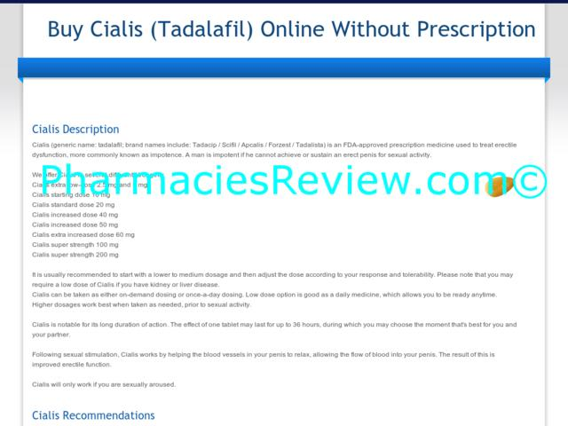 Cialis Online Wthout Prescription